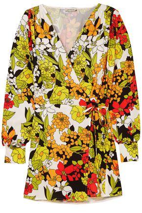 ATTICO Floral-print crepe mini wrap dress