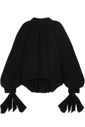 A.W.A.K.E. Tie-detailed cotton-poplin blouse