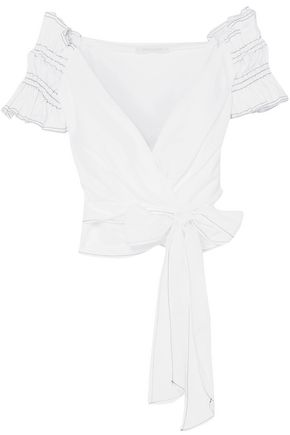 JONATHAN SIMKHAI Off-the-shoulder cotton-poplin wrap top