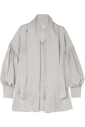 HILLIER BARTLEY Pussy-blow pinstriped silk and cotton-blend shirt