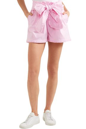 MSGM Ruffled-trimmed striped cotton-blend shorts