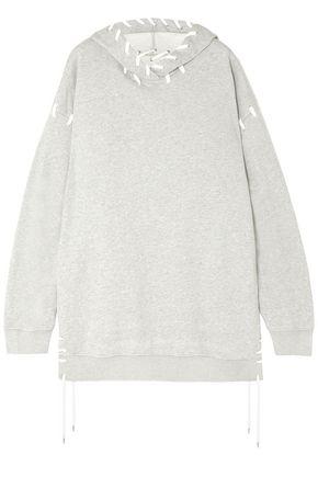 JONATHAN SIMKHAI Lace-up French cotton-terry hooded sweatshirt