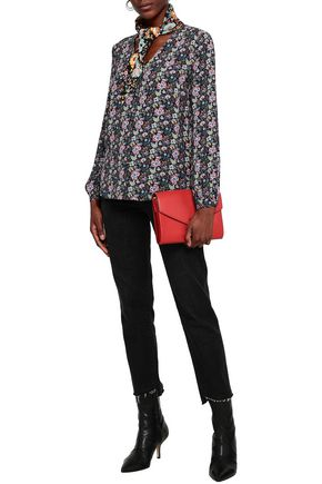 FRAME Floral-print crepe blouse
