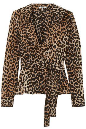 GANNI Leopard-print silk crepe de chine wrap top