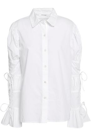 FRAME Bow-embellished cotton-poplin shirt