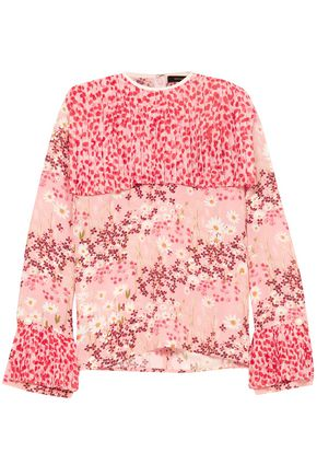 MOTHER OF PEARL Cape-effect printed crepe de chine blouse