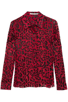 ALICE + OLIVIA Willa leopard-print burnout chiffon shirt