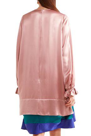 ROKSANDA Tiered color-block silk-satin mini dress
