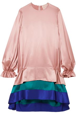 ROKSANDA Tiered color-block silk-satin mini dress