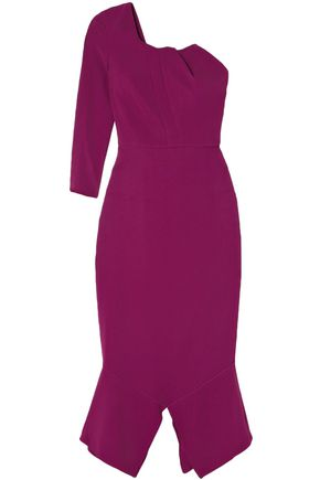 ROLAND MOURET One-shoulder crepe midi dress