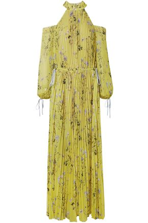 SELF-PORTRAIT Cold-shoulder floral-print pleated chiffon turtleneck gown