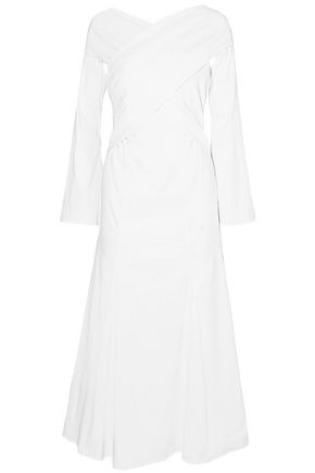 BEAUFILLE Twisted linen-blend midi dress