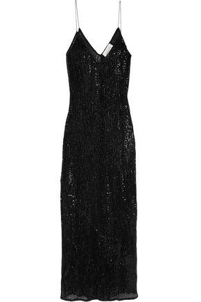 GEORGIA ALICE Sequined embroidered tulle plissé midi dress