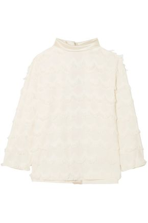 MARC JACOBS Satin-trimmed fringed crepe blouse