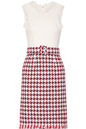 OSCAR DE LA RENTA Fringed houndstooth cotton-blend tweed dress