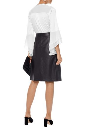 IRIS & INK Alyssa georgette-paneled ruffled stretch-satin blouse