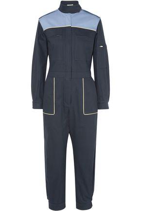 MIU MIU Two-tone cotton-blend jumpsuit