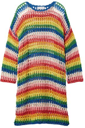 MIRA MIKATI Striped open-knit cotton dress