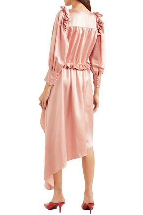 MAGDA BUTRYM Tarragona asymmetric ruffled silk-satin dress