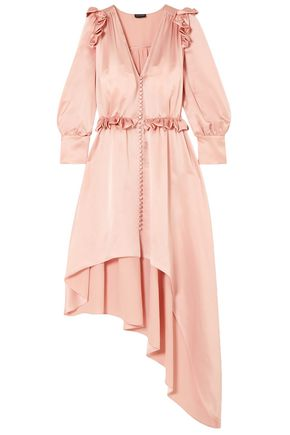 MAGDA BUTRYM Tarragona asymmetric ruffled silk-satin dress