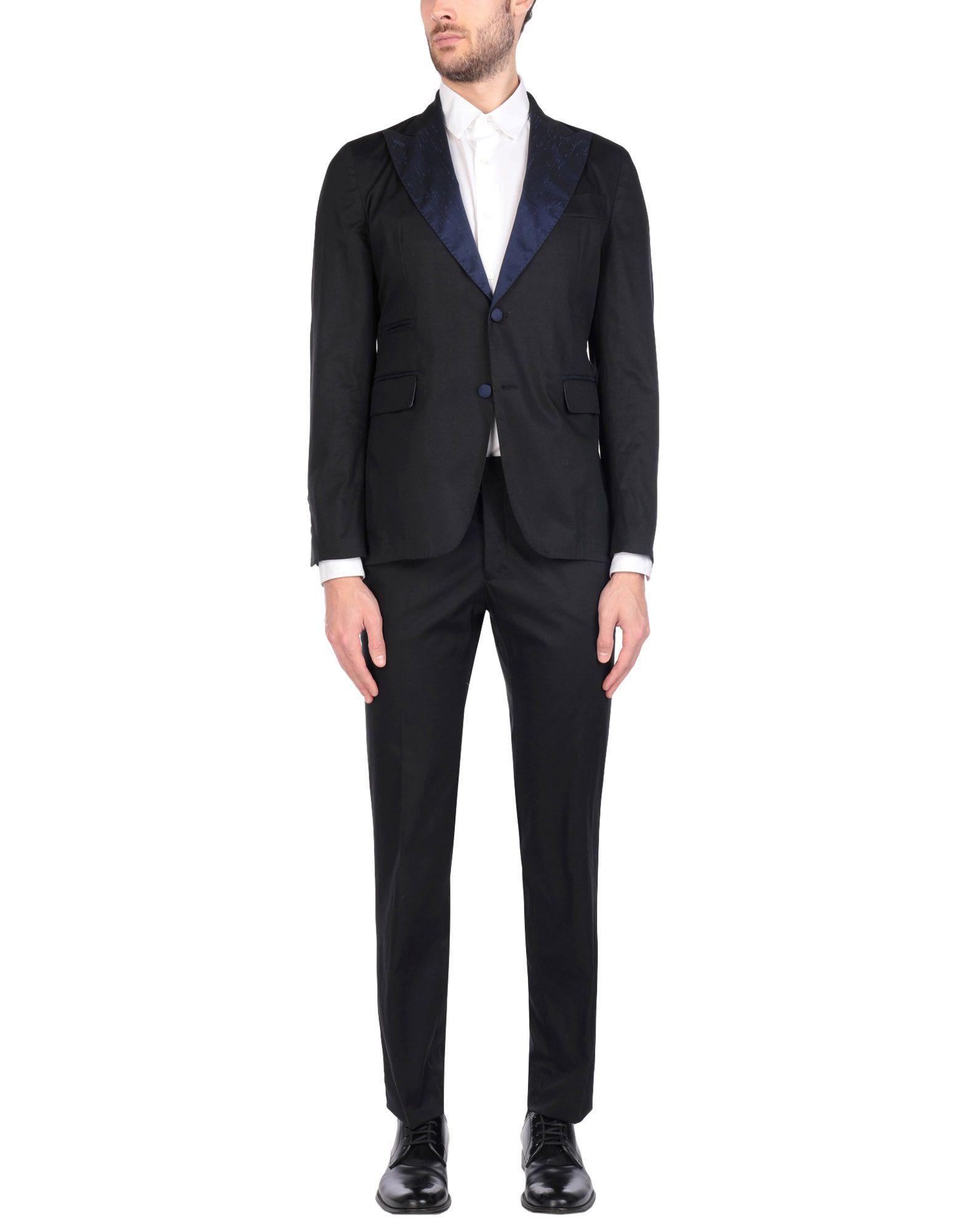《送料無料》JOHN SHEEP メンズ スーツ ブラック 46 コットン 98% / ポリウレタン 2%