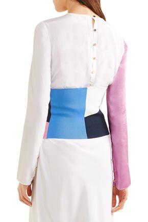 TIBI Color-block stretch-knit bustier