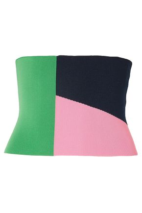 TIBI Color-block stretch-knit bustier