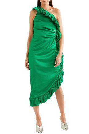 ATTICO One-shoulder ruched cotton-blend midi dress