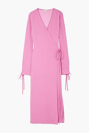 ATTICO Crepe midi wrap dress