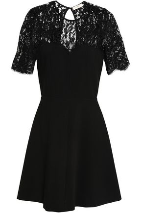BA&SH Open-back lace-paneled crepe mini dress