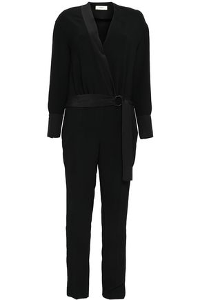 BA&SH Satin-trimmed crepe jumpsuit