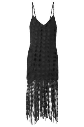 GOEN.J Fringed cotton guipure lace midi dress