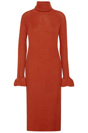 ULLA JOHNSON Ribbed alpaca and silk-blend turtleneck dress