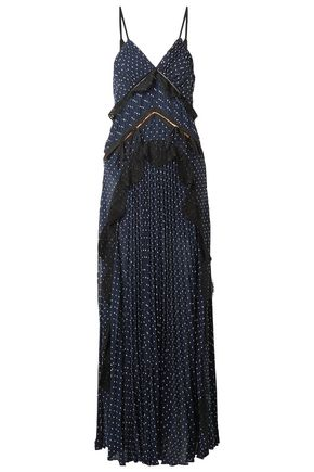 SELF-PORTRAIT Bow-embellished lace-paneled swiss-dot maxi dress