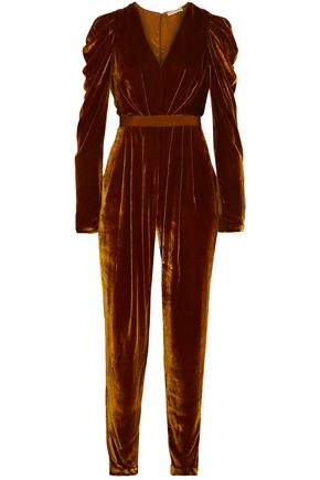 ULLA JOHNSON Sabine gathered velvet jumpsuit