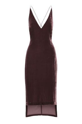 DION LEE Open-back velvet midi slip dress