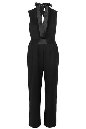 DION LEE Cutout satin-trimmed wool jumpsuit