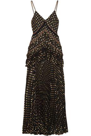 SELF-PORTRAIT Pleated woven fil coupé maxi dress