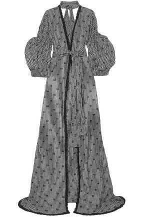 JONATHAN SIMKHAI Cutout crochet-trimmed gingham jacquard maxi dress