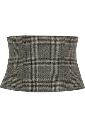 TIBI Houndstooth wool belt