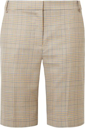 TIBI Prince of Wales wool and silk-blend shorts