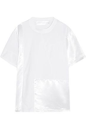 VICTORIA, VICTORIA BECKHAM Satin-paneled cotton-jersey T-shirt