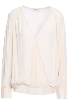 BA&SH Wrap-effect gathered crepe de chine blouse