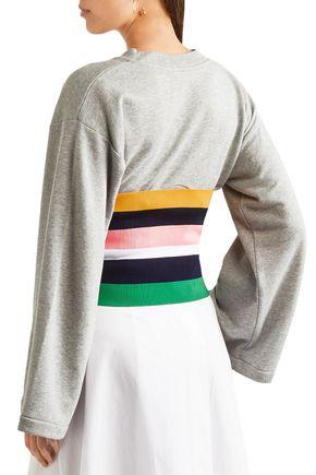 TIBI Striped stretch-knit bustier