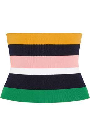 TIBI Striped stretch-knit bustier