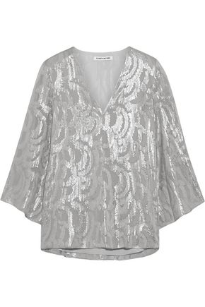 ELIZABETH AND JAMES Ariel metallic fil coupé silk-blend blouse