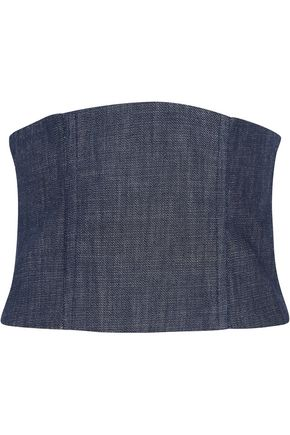 TIBI Mesh-paneled denim bustier top