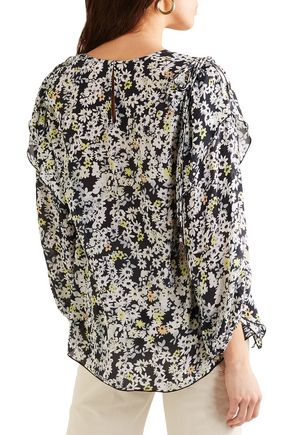 SEE BY CHLOÉ Draped floral-print crepe de chine blouse