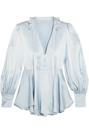 ALEXACHUNG   Alexachung Woman Ruffle-trimmed Satin Blouse Sky Blue   Goxip