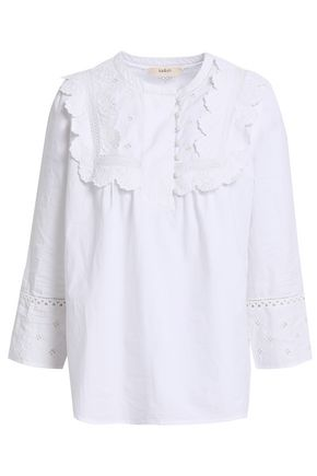 BA&SH Broderie anglaise-trimmed cotton-poplin blouse